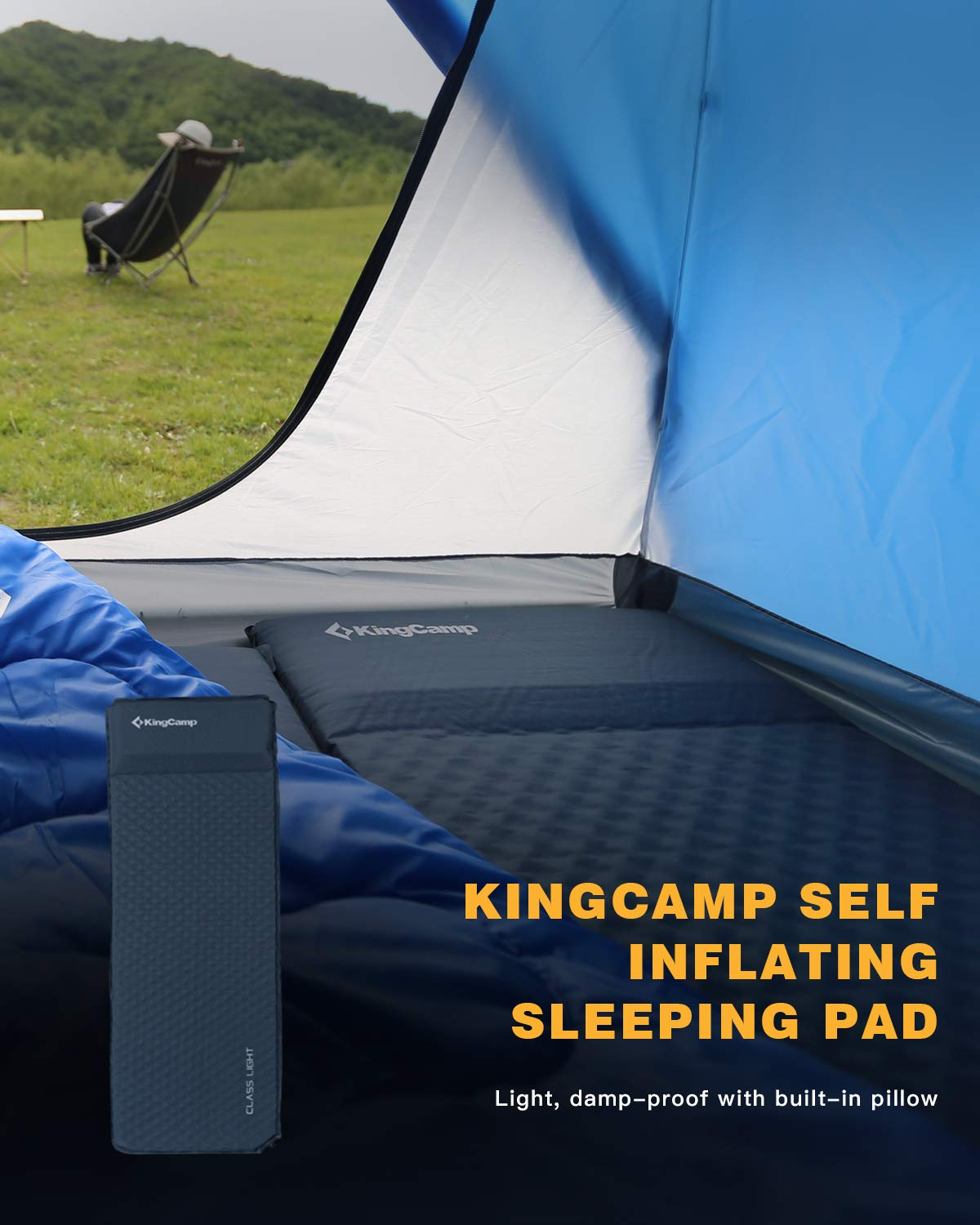 KingCamp Classic Single//Double Self Inflating Camping Sleeping Mat 4 Sizes with Built in Pillow for Outdoor