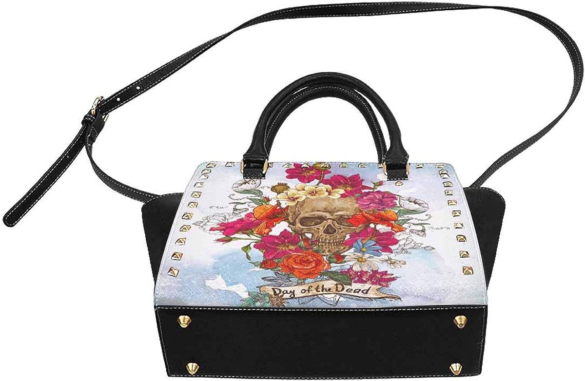 InterestPrint Womens Skull and Beautiful Blue Butterfly Rivet Shoulder Handbag Shoulder Bags