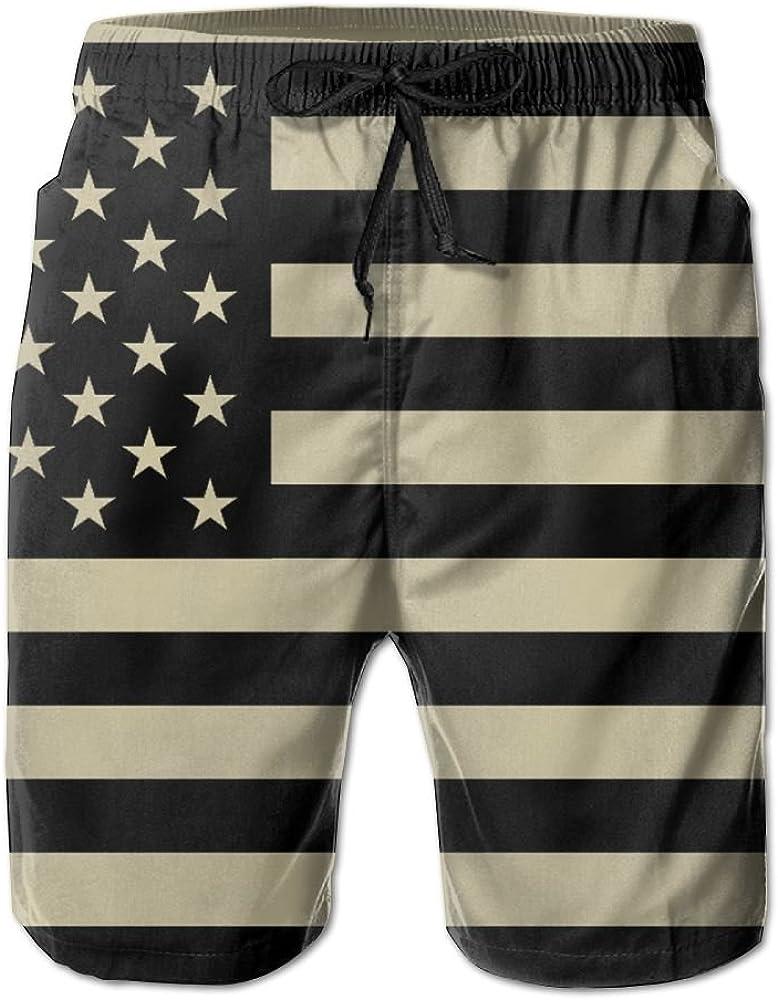 Sunshine Us Flag Mens Beach Shorts Elastic Waist Pockets Lightweight Swimming Board Short Quick Dry Short Trunks