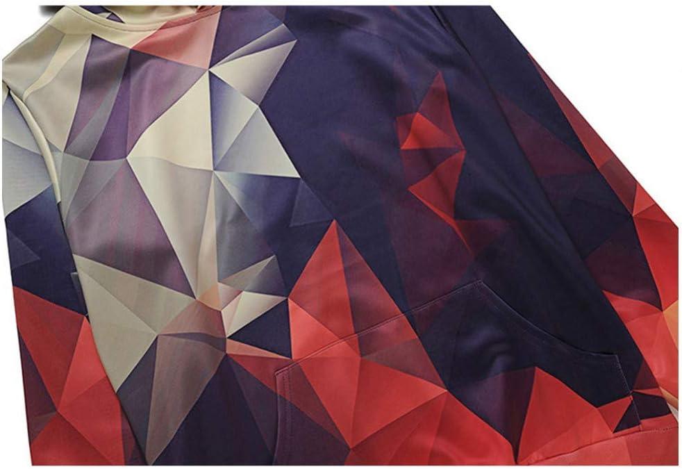 PU Frühling und Herbst 3D Sport Sweatshirts Männer Digital Farbe Geometric Grid Printing Hooded 3D Sweatshirts Outdoor Training Shirts mit Kapuze,S L