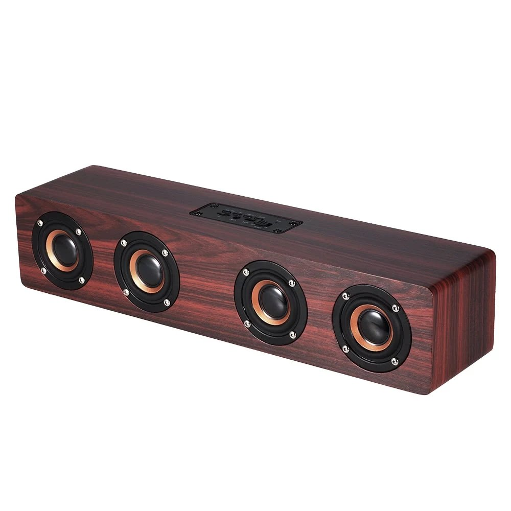 Speaker Wireless with Bluetooth, TechCode Portable Wireless Bluetooth Speakers TF Card AUX Subwoofer Portable Speaker for TV Home Theatre 3D Wood Sound Bar for All Bluetooth Devices (Red) PA-CFW8YX-R
