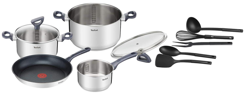 Tefal Daily Cook - Set de sartenes y cazos, acero inoxidable, gris/negro, 11 piezas: Amazon.es: Hogar
