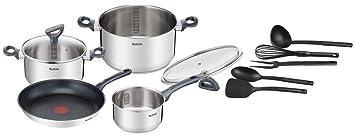 Tefal Daily Cook - Set de sartenes y cazos, acero inoxidable, gris/negro