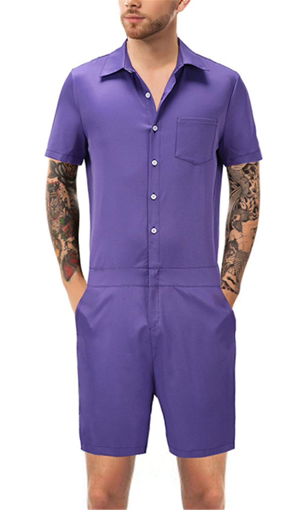 latest style Buy Authentic largest selection of HOP FASHION Mens One Piece Romper Casual Button Short Sleeve ...