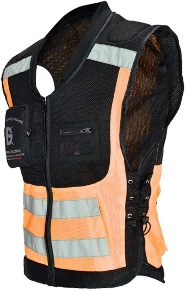 DIMPLEYA Motocicleta Chaquetas Chaleco De Alta Seguridad Chaleco Reflectante Visible De La Cremallera Frontal Bolsillos Transpirable Y Forro De Malla Protectora Certificaci/ón