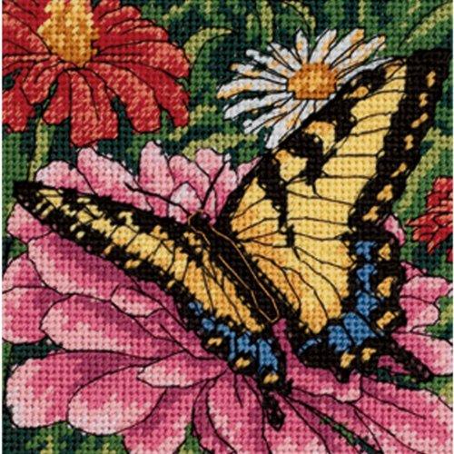 (Dimensions Needlepoint Kit, Butterfly on Zinnia Needlepoint, 5'' W x 5'' H )