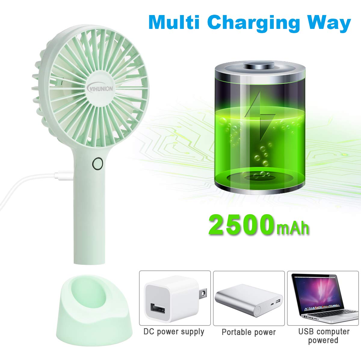QINUKER Mini Ventilateur Portatif Portable USB Rechargeable /à Main avec Ventilateur /à Main avec Base Rose le Bureau la Chambre et les Voyages en plein air 4 Modes pour la Maison Batterie 2500mAh