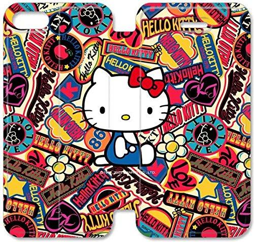 Coque iPhone 5C Coque cuir, Klreng Walatina® 5C PU Wallet cuir Coque Design By Sanrio Bonjour Kitty Logos Contexte Galaxy Image N6I7Vs Note