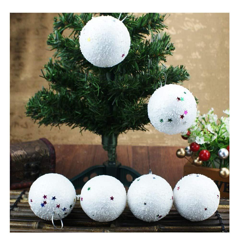 callm Christmas Tree Decorations,6PCS Christmas Snowball Foam Balls Party Ornaments Xmas Tree Hanging (White, L)