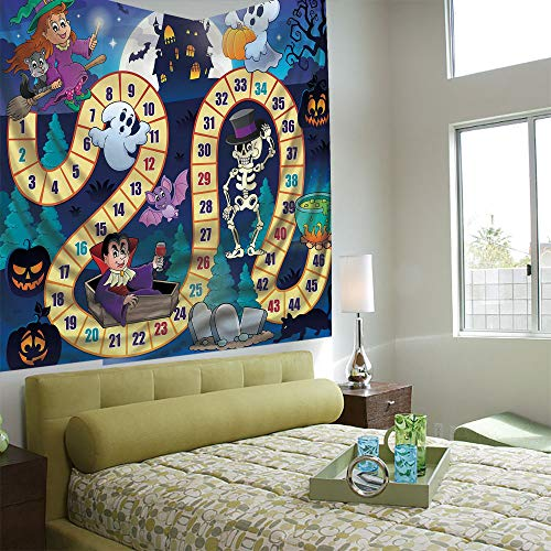 Popular Flexible Hot Tapestries Privacy Decoration,Board Game,Halloween Theme Symbols Happy Witch Girl Vampire Ghost Pumpkins Happy -