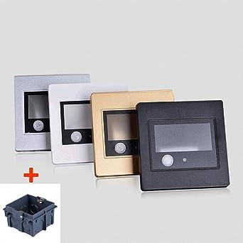 GYBYB Detector de movimiento + Sensor de luz led escalera de luz led infrarrojo cuerpo humano lámpara de inducción empotrada escalones escalera lámparas de pared 86 caja @ Silver_Warm_White_: Amazon.es: Iluminación