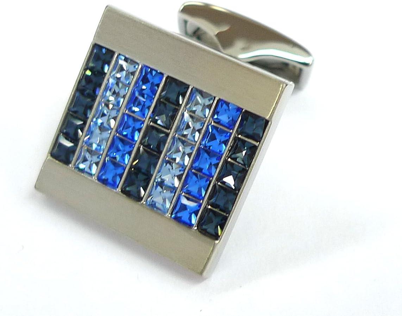 Tailor B Blue Tone Crystals Cufflinks 70 Stones Cuff Links 052036-2