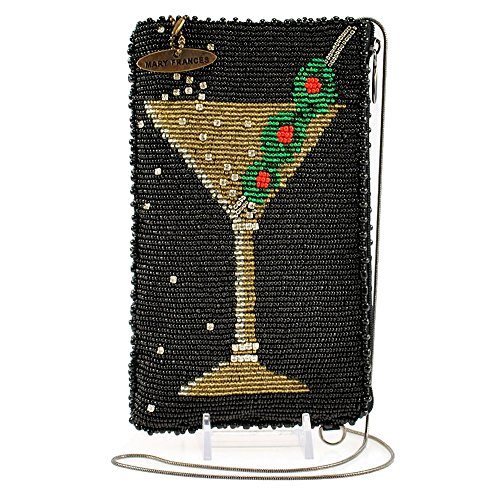 Beaded Cell Phone Case - MARY FRANCES Beaded Cross-Body Double Pocket Cell Phone/Glasses Pouches (Martini)