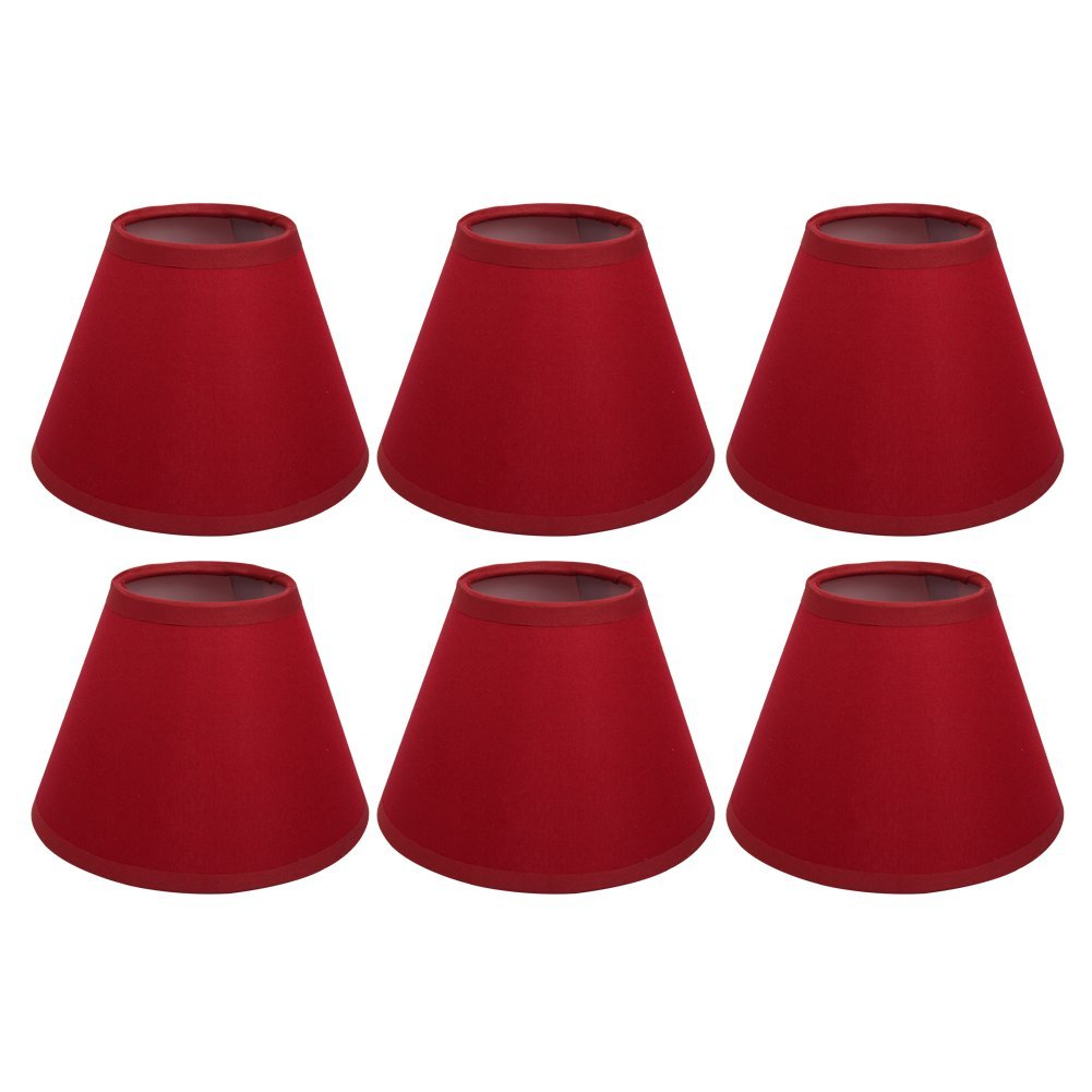 Afy clip on candle lampshade red color chandelier lamp shades small afy clip on candle lampshade red color chandelier lamp shades small light shade for ceiling pendant light pack of 6 amazon kitchen home aloadofball Choice Image