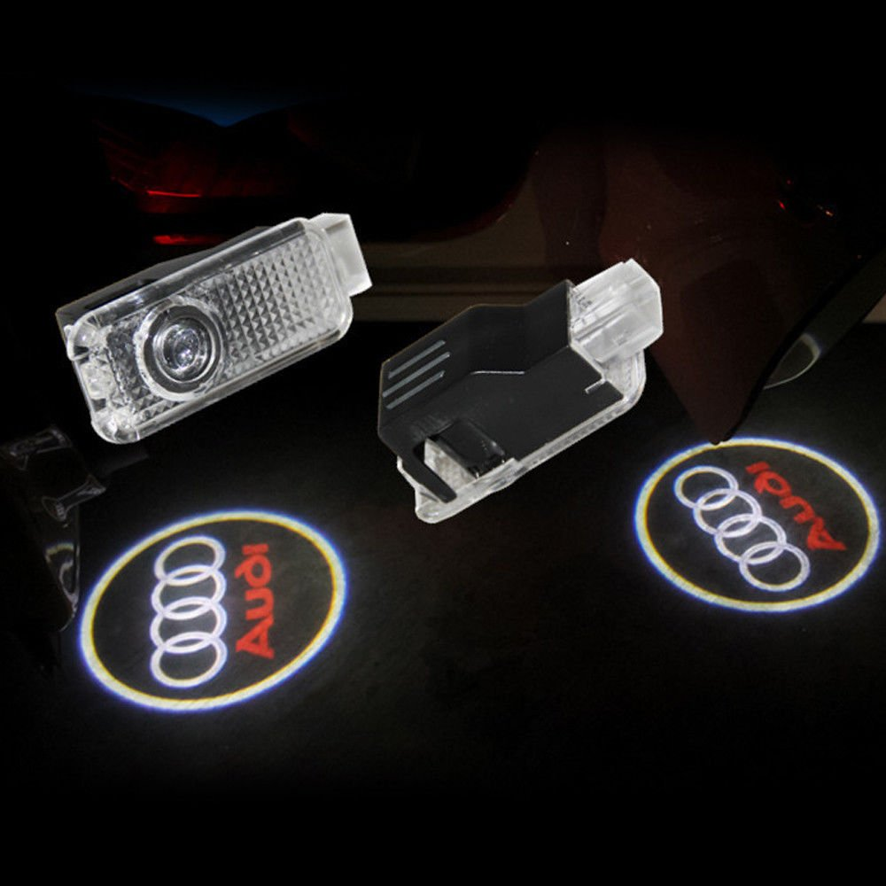 Easy Installation /… AMINEY 2 Pcs Door Light Car Vehicle Ghost LED Courtesy Welcome Logo Light Lamp Shadow Projector For AUDI