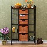 Metal Storage Shelves with 5 Rattan Baskets Drawer