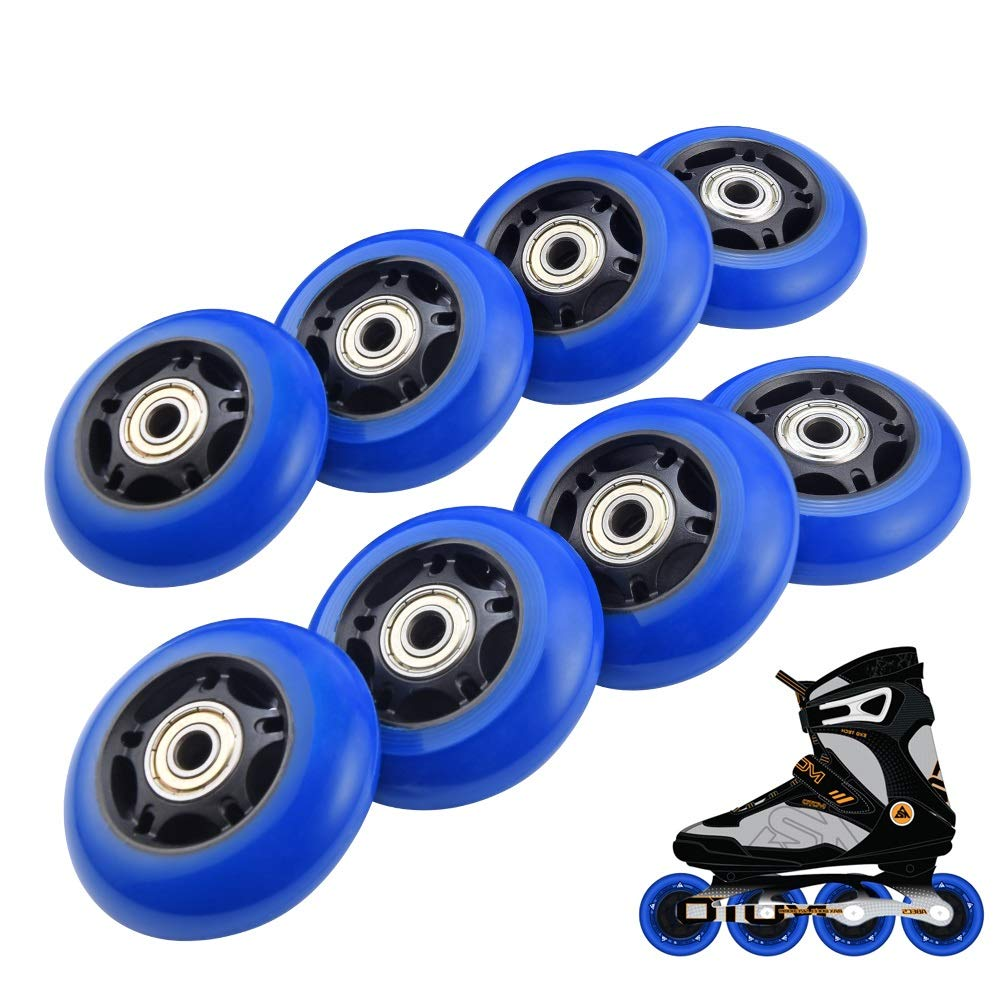 RUNACC Inline Roller Skate Wheels 82A 70mm Premium Replacement Rollerblade Wheels with Bearings (Blue- Set of 8) (82A-Blue-8pcs) (85A-8pcs-Blue)