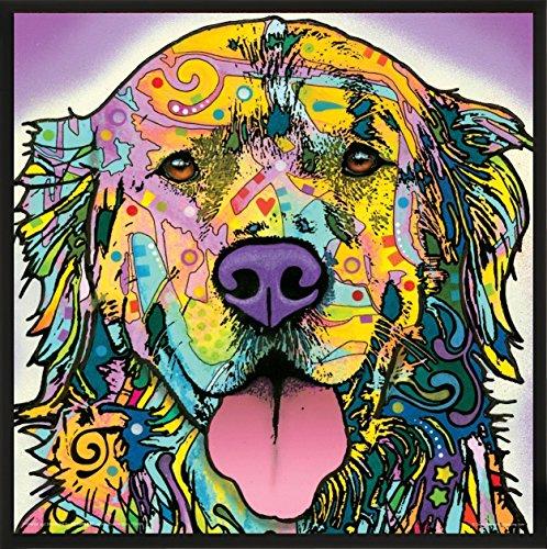 (Culturenik Dean Russo Happy Dog Close Up Modern Animal Decorative Art Print (Framed 12x12 Poster))