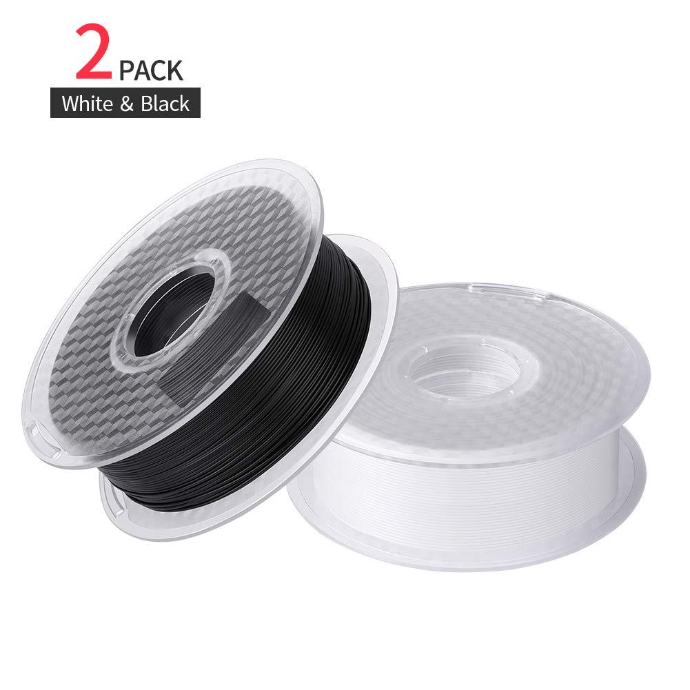 Sovol Filament PLA 1,75 mm 1kg Noir et 1kg Blanc, Filament pour imprimante 3D et Stylo 3D, 2 Bobines