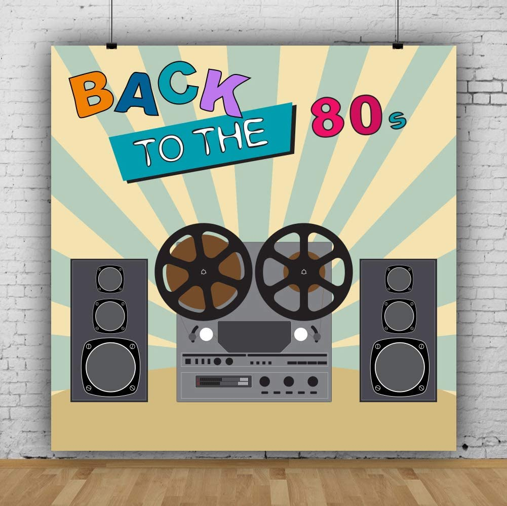 Baocicco 6.5x6.5ft Hip Hop 80s Party Backdrop Back to The 80s Theme Backdrop for Photography Sound Disco Stripes Background Themed Birthday Party Retro Music Party Adults Portrait Studio Props