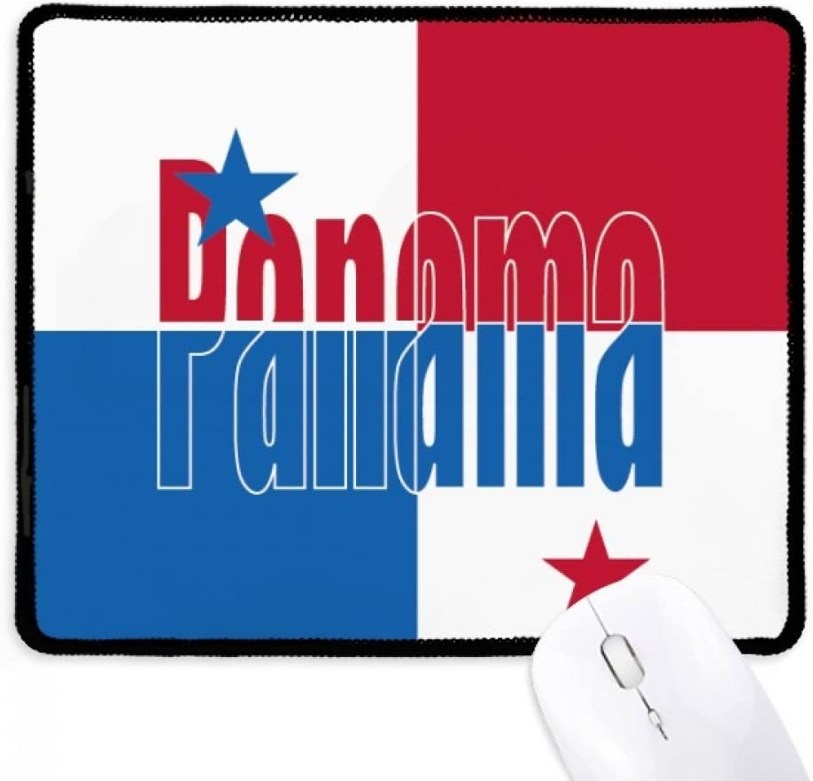 Panama Country Flag Name Non-Slip Mousepad Game Office Black Stitched Edges Gift