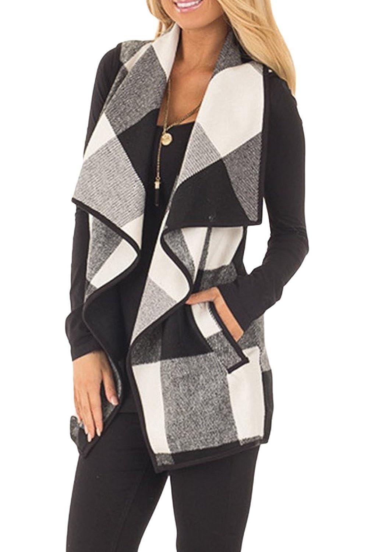 CXINS Womens Fashion Lapel Open Front Sleeveless Plaid Vest ...