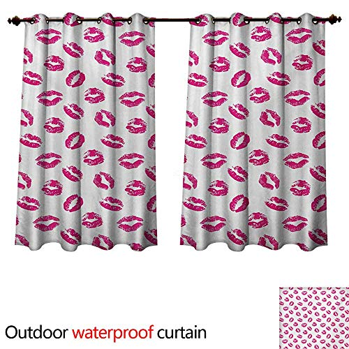(WilliamsDecor Kiss Outdoor Curtains for Patio Sheer Vibrant Colored Lipstick Kiss Print Smooch Abstract Hot Pink Grungy Look Feminine W96 x L72(245cm x 183cm))