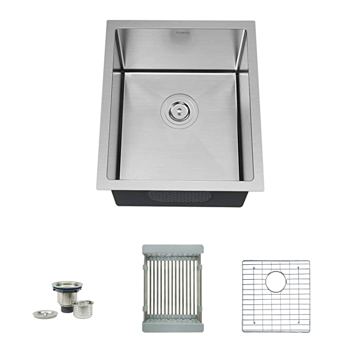 "TORVA 17-Inch Undermount 16 Gauge Stainless Steel Single Bowl Kitchen Sink, with Bottom Rinse Grid, Sliding Colander and Basket Drain Strainer, Suit for 20"" Cabinet in Kitchen/Bar/Prep"