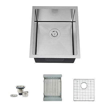 Torva 17 Inch Undermount 16 Gauge Stainless Steel Single Bowl Kitchen Sink With Bottom Rinse Grid Sliding Colander And Basket Drain Strainer Suit