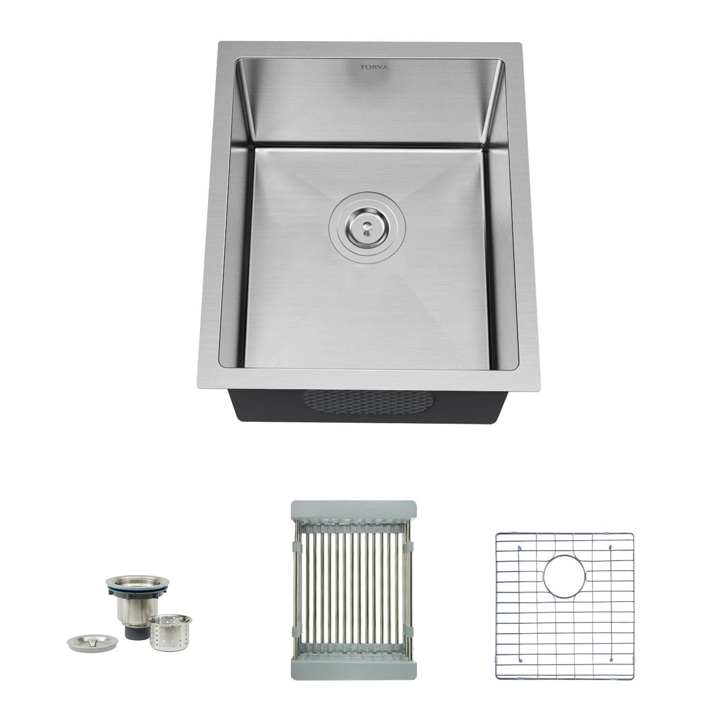 TORVA 17-Inch Undermount 16 Gauge Stainless Steel Single Bowl Kitchen Sink, Wet Bar/Prep Sinks, Suit for 20'' Cabinet (17'' x 19'' x 9'')