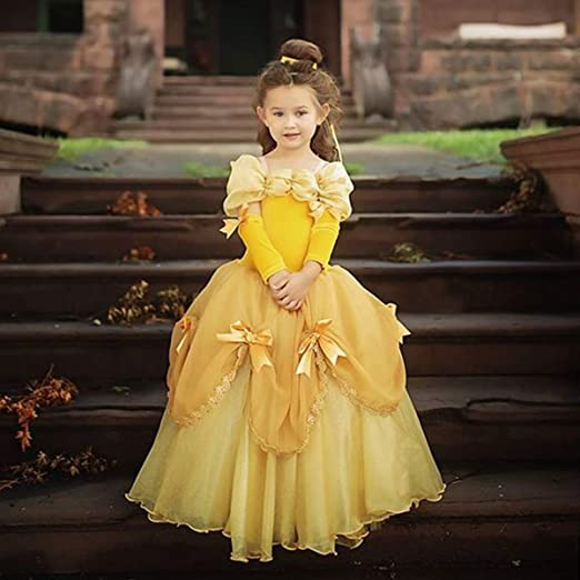 Inspire You Princess Costume Halloween Party Fancy Dress Up Girls Luxury Puffy Ball Gown Cosplay Yellow Dress for Kids