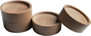 Xinshidai Bed and Furniture Solid Wood Round Risers Wont Crack & Scratch Floors - Set of 4 (Wood Color)