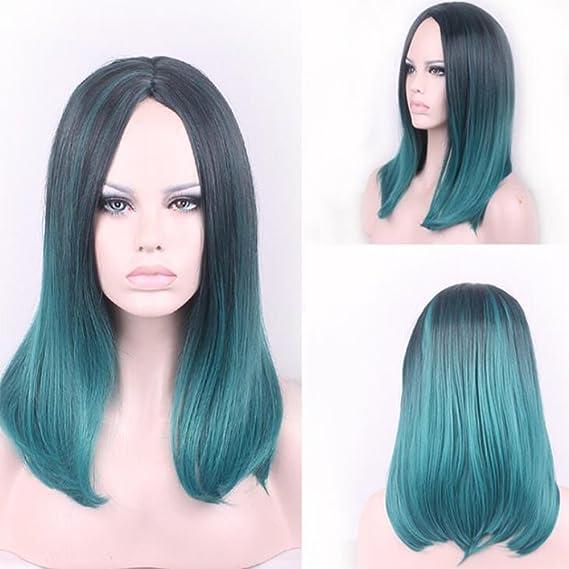 wig Peluca para mujer en pelo rizado y largo, color verde pavo ...