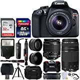Canon EOS Rebel T6 Digital SLR Camera + EF-S 18-55mm f/3.5-5.6 IS II Lens + EF 75-300mm f/4-5.6 III Lens + DC59 Gadget Bag + 64GB Card + Wide Angle & Telephoto Lens + Remote – Accessory Bundle