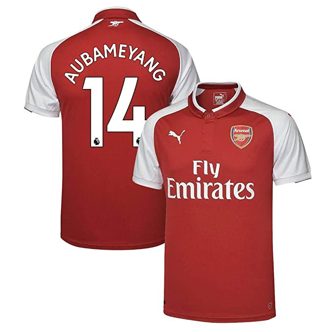 2836a908a Amazon.com   PUMA Arsenal Home Aubameyang Jersey 2017 2018 (Authentic EPL  Printing)   Sports   Outdoors