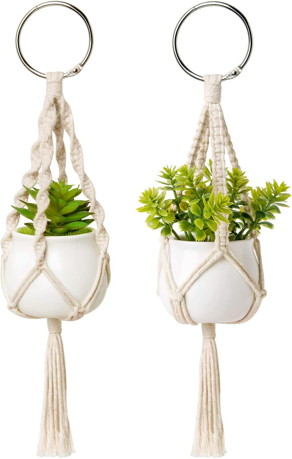 Dahey Mini Macrame Plant Car Accessories Rear View Mirrior Charm Cute Hanging Rearview Car Decor Boho Hanger with Artificial Succulent Plants for Plant Lover, 2 Pcs, 10.5 inch, White