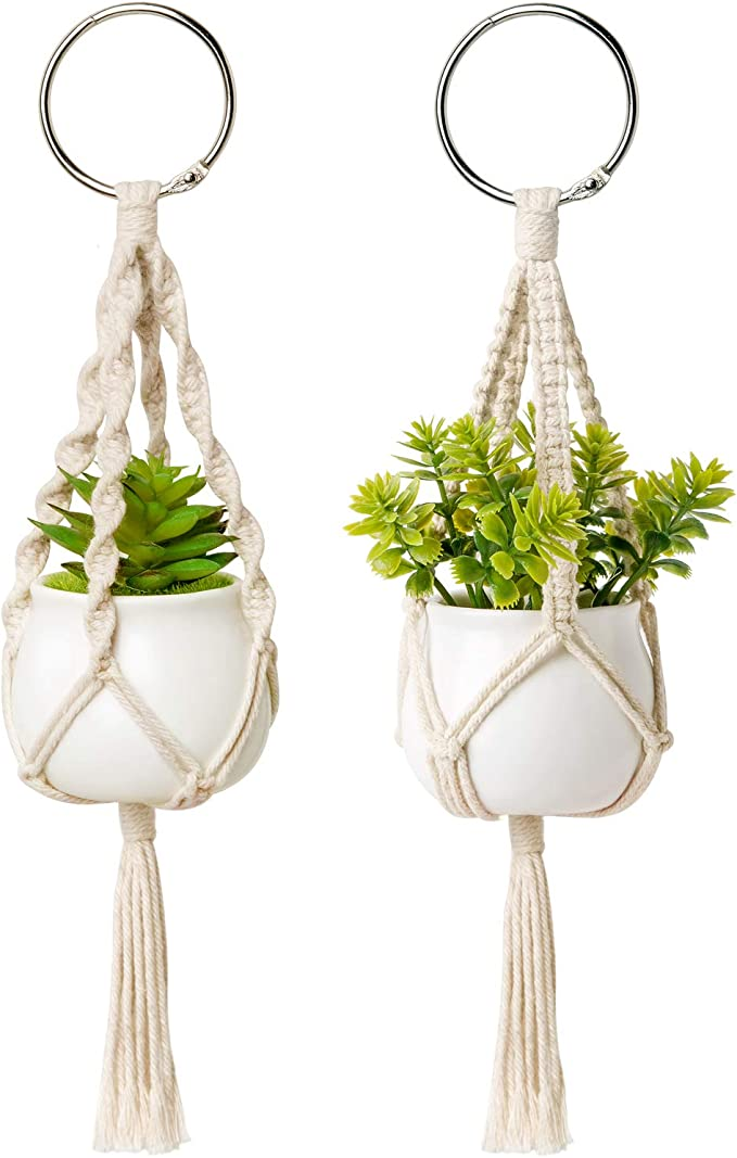 Aromatherapy Essential Oil Diffuser Car Mirror Decoration Cactus Succulent Car Charm Macrame plant holder