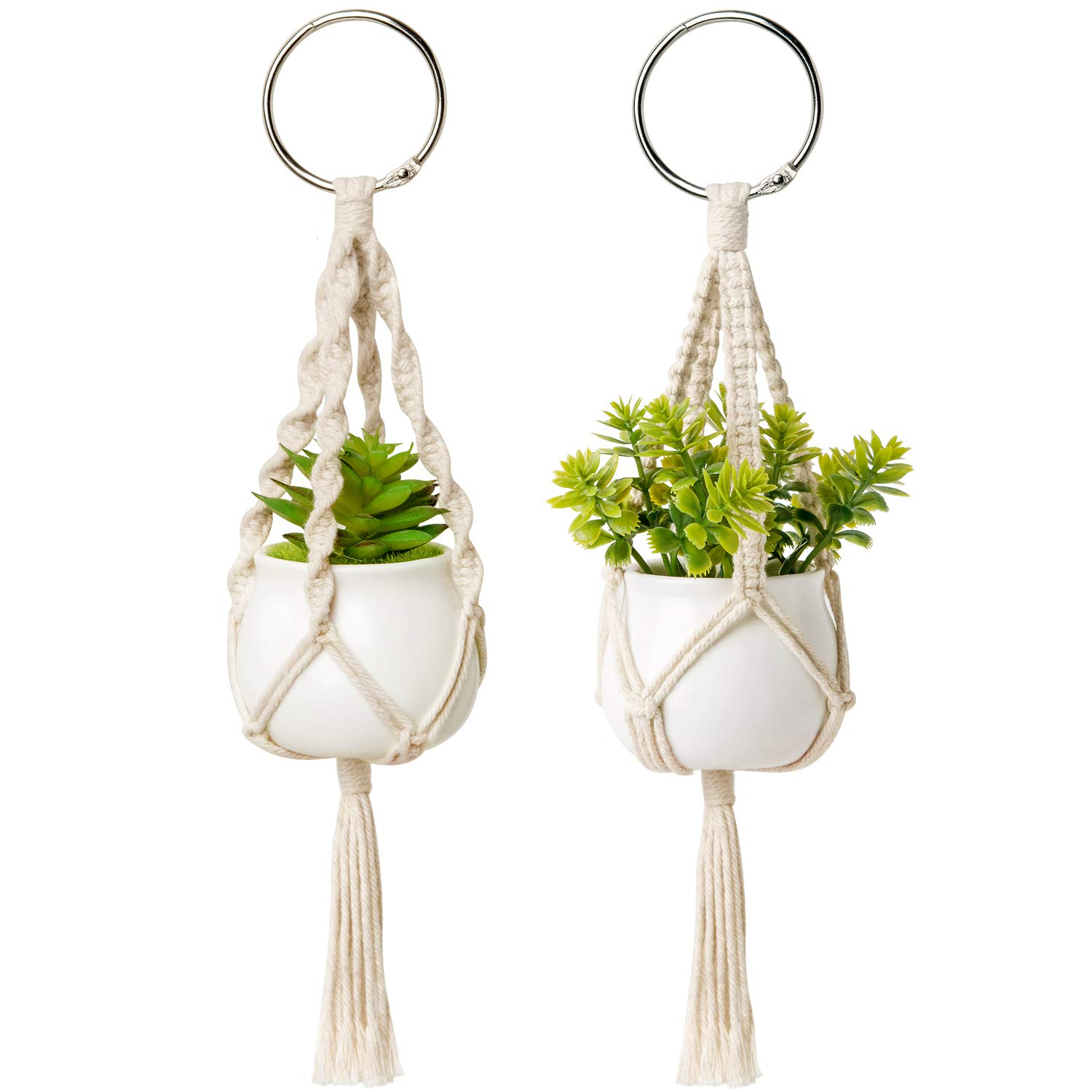 Dahey Mini Macrame Plant Car Hanging 2 Pcs Hanging Succulent for Car Decorations Handmade Rear View Mirrior Charm Boho Planter with Ceramic Pot and Plant for Car Home Decor,Unique Gifts, 10.5 inch