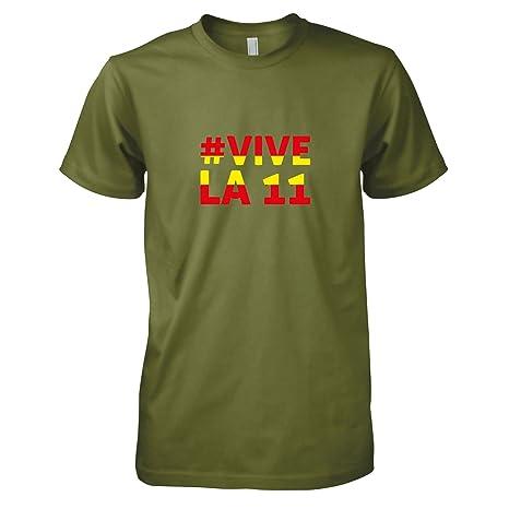 Texlab Espana Vive La 11 Camiseta, Hombre, Verde Oliva, Large: Amazon.es: Deportes y aire libre