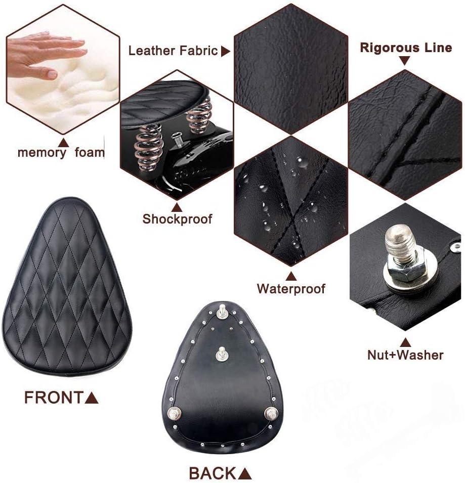 WASTUO Selle Moto Solo Noir pour Bobber//Sportster//Custom avec Ressorts//Support Kit
