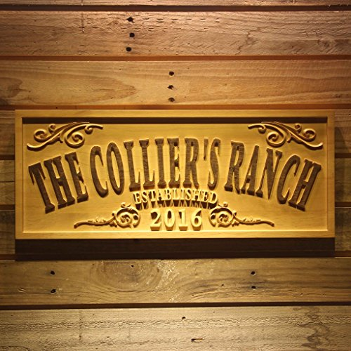 wpa0354 Name Personalized THE RANCH Farm Decoration Established Year Gifts Wood Engraved Wooden Sign