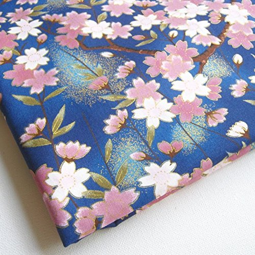 (Janpanese Fabric Sakura Cherry Blossom Kimono Lovely Pink Sweet on Blue 36 by 36 Inch Wide (1 Yard) (KM055))