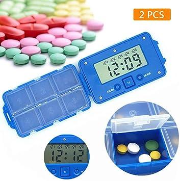 Organizador de la caja de pastillas Caja de la píldora Temporizador Temporizador Reloj despertador Dispensador de almacenamiento de medicamentos 6 Divisiones (2 unidades): Amazon.es: Salud y cuidado personal