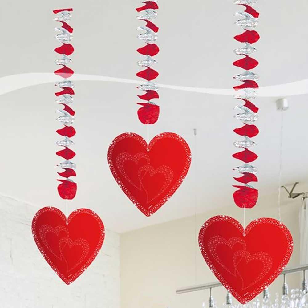 Folat Hochzeit Hänge Spiralen Mit Herzen Valentinstag Party Deko 3 Stü Spielzeug
