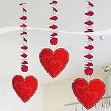 Hochzeit Hänge-Spiralen mit Herzen Valentinstag Party-Deko 3 Stück rot 75x18cm Einheitsgröße