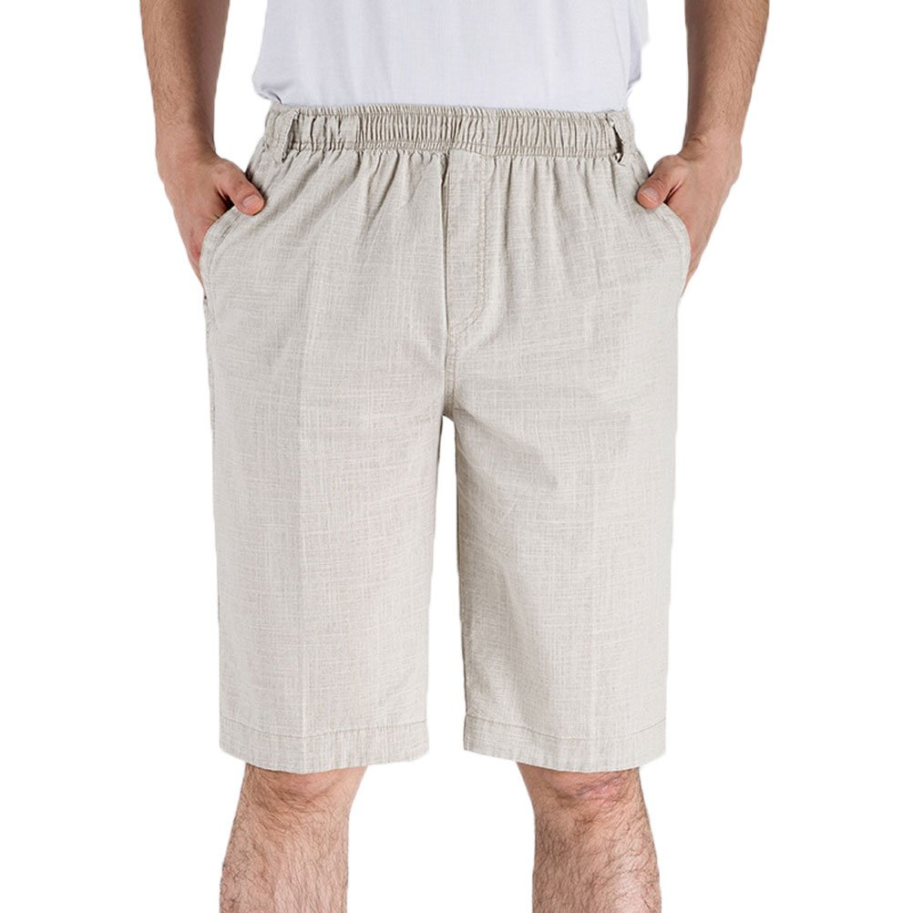 Soojun Mens Casual Elastic Waist Summer Shorts with Pockets, Beige, Medium