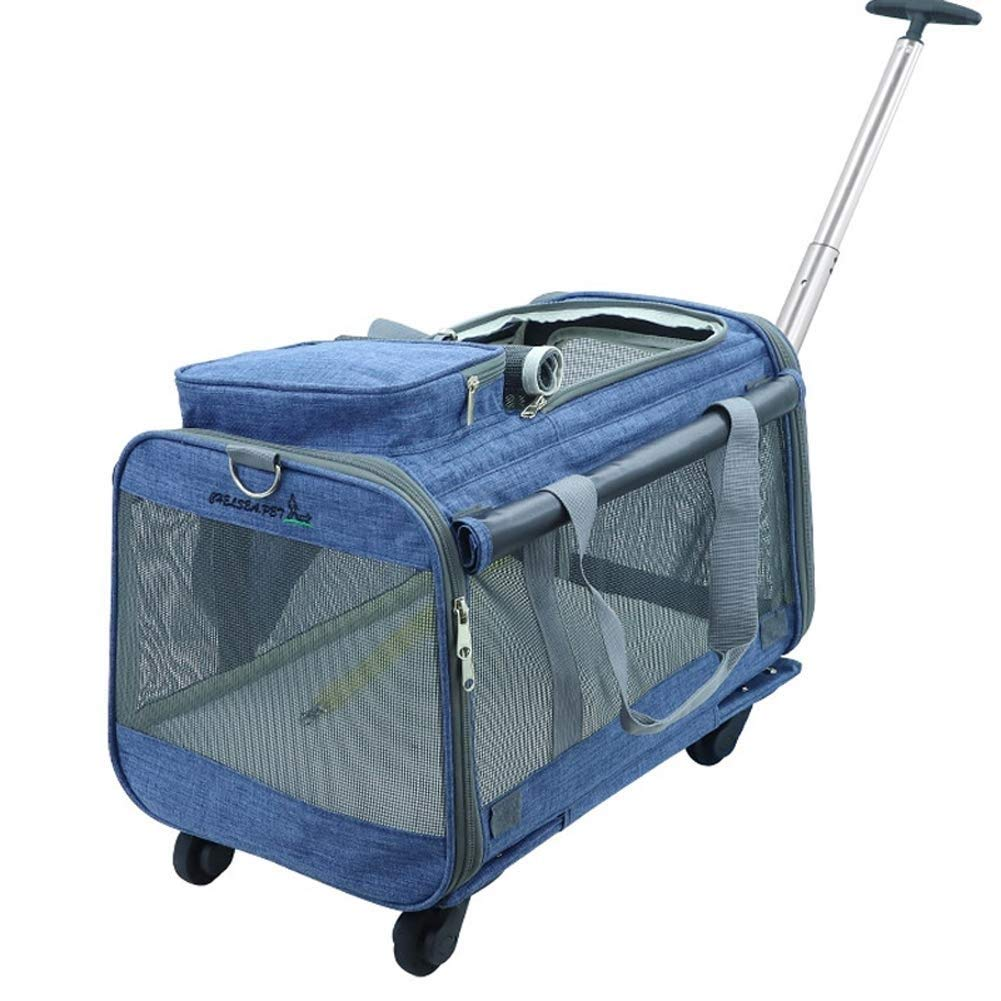 bluee Pet Carrier Airline Approved Foldable Pet Carrier Dog With Removable Wheels Rolling Carrier Backpack Strollers for Cats Dogs Rabbits Kittens Puppies Travel Hiking Camping (color   bluee)