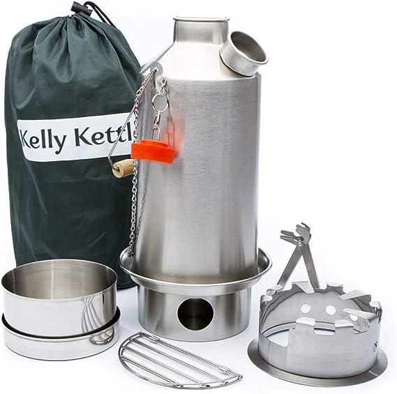 Kelly Kettle y Campamento Estufa Set: Includes....new Modelo Acero Inoxidable Base Camp 1,6 Litros Kettle® + Verde Silbato (Sustituye The Orange ...