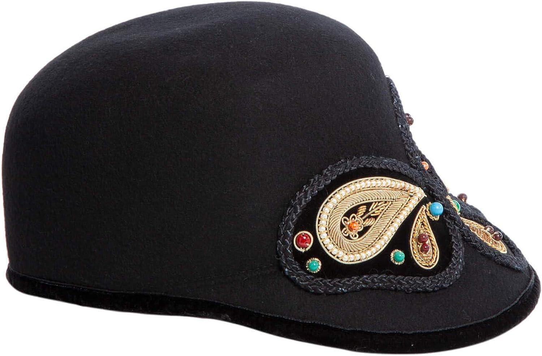 Eric Javits Luxury Fashion Designer Womens Headwear Hat Black//Gold Raja Cap