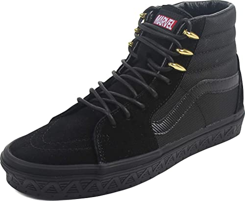 Vans - Unisex-Adult SK8-Hi Shoes, Size: 3.5 D(M) US Mens / 5 B(M) US  Womens, Color: (Marvel) Black Panther/Black